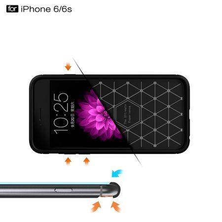 Apple iPhone 6 / 6s Cover TPU Case Silikon Schutz-Hülle Handy Bumper Carbon Optik Blau – Bild 7
