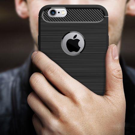 Apple iPhone 6 / 6s Cover TPU Case Silikon Schutz-Hülle Handy Bumper Carbon Optik Blau – Bild 8