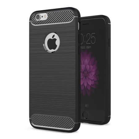 Apple iPhone 6 / 6s Plus Cover TPU Case Silikon Schutz-Hülle Handy Bumper Carbon Optik Schwarz – Bild 1