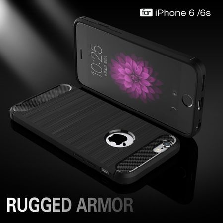 Apple iPhone 6 / 6s Plus Cover TPU Case Silikon Schutz-Hülle Handy Bumper Carbon Optik Schwarz – Bild 2