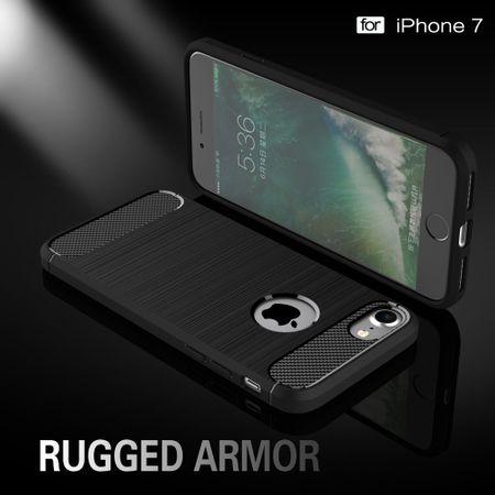 Apple iPhone 7 Cover TPU Case Silikon Schutz-Hülle Handy Bumper Carbon Optik Schwarz – Bild 2