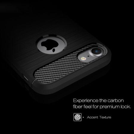 Apple iPhone 7 Cover TPU Case Silikon Schutz-Hülle Handy Bumper Carbon Optik Schwarz – Bild 3