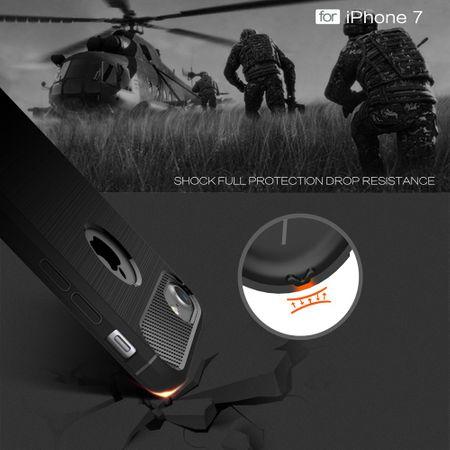 Apple iPhone 7 Cover TPU Case Silikon Schutz-Hülle Handy Bumper Carbon Optik Schwarz – Bild 5