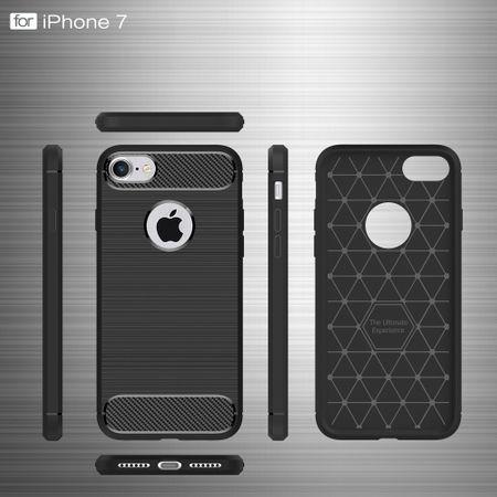 Apple iPhone 7 Cover TPU Case Silikon Schutz-Hülle Handy Bumper Carbon Optik Grau – Bild 6