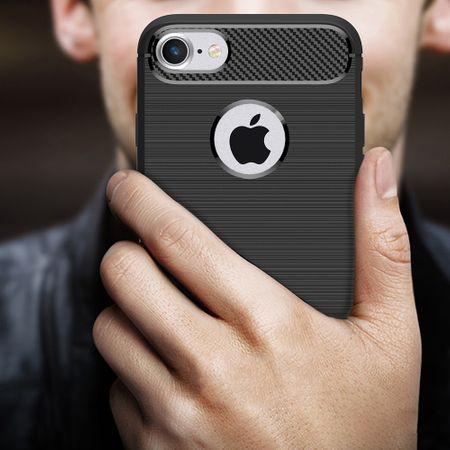 Apple iPhone 7 Cover TPU Case Silikon Schutz-Hülle Handy Bumper Carbon Optik Grau – Bild 8