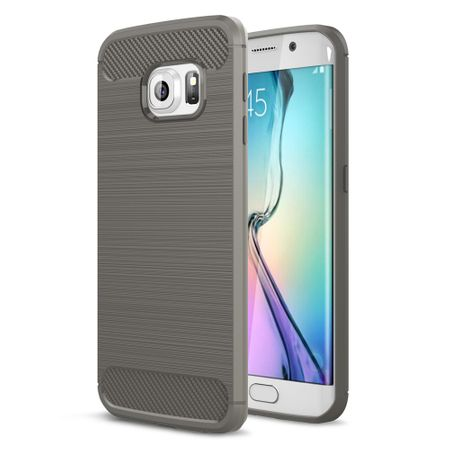 Samsung Galaxy S6 Edge TPU Case Carbon Fiber Optik Brushed Schutz Hülle Grau