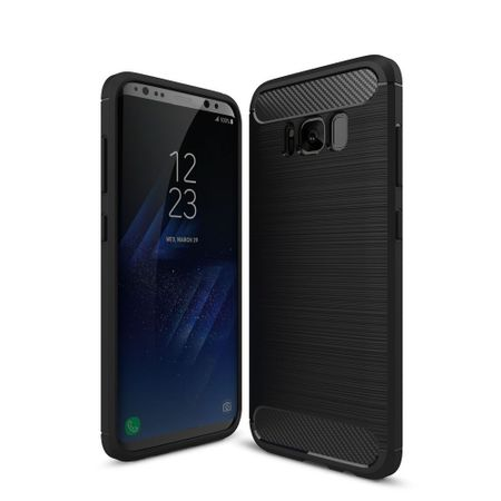 Samsung Galaxy S8 TPU Case Carbon Fiber Optik Brushed Schutz Hülle Schwarz