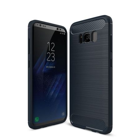 Samsung Galaxy S8 TPU Case Carbon Fiber Optik Brushed Schutz Hülle Blau