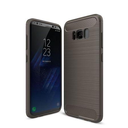 Samsung Galaxy S8+ Plus TPU Case Carbon Fiber Optik Brushed Schutz Hülle Grau