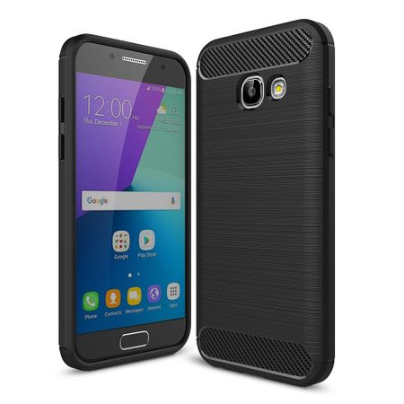 Samsung Galaxy A3 2017 TPU Case Carbon Fiber Optik Brushed Schutz Hülle Schwarz