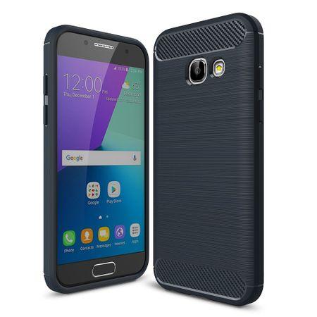 Samsung Galaxy A3 2017 TPU Case Carbon Fiber Optik Brushed Schutz Hülle Blau