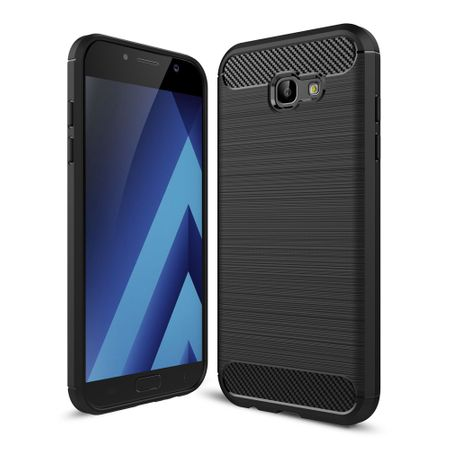 Samsung Galaxy A7 2017 TPU Case Carbon Fiber Optik Brushed Schutz Hülle Schwarz