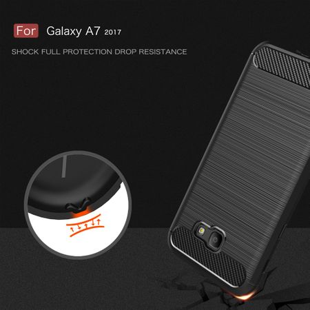 Samsung Galaxy A7 2017 TPU Case Carbon Fiber Optik Brushed Schutz Hülle Grau – Bild 7