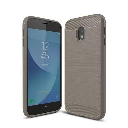 Samsung Galaxy J3 2017 TPU Case Carbon Fiber Optik Brushed Schutz Hülle Grau
