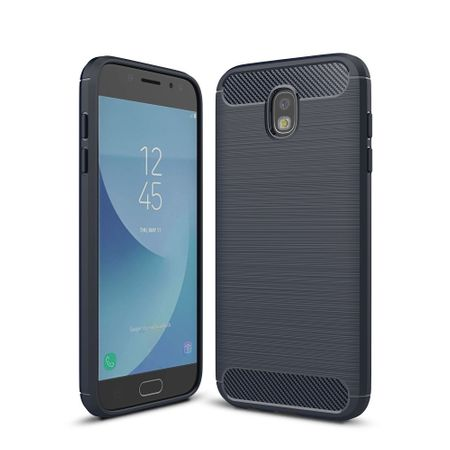 Samsung Galaxy J7 2017 TPU Case Carbon Fiber Optik Brushed Schutz Hülle Blau