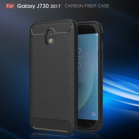 Samsung Galaxy J7 2017 TPU Case Carbon Fiber Optik Brushed Schutz Hülle Blau – Bild 3