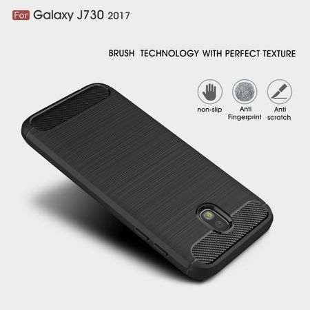 Samsung Galaxy J7 2017 TPU Case Carbon Fiber Optik Brushed Schutz Hülle Blau – Bild 4