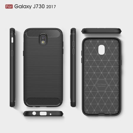 Samsung Galaxy J7 2017 TPU Case Carbon Fiber Optik Brushed Schutz Hülle Blau – Bild 10