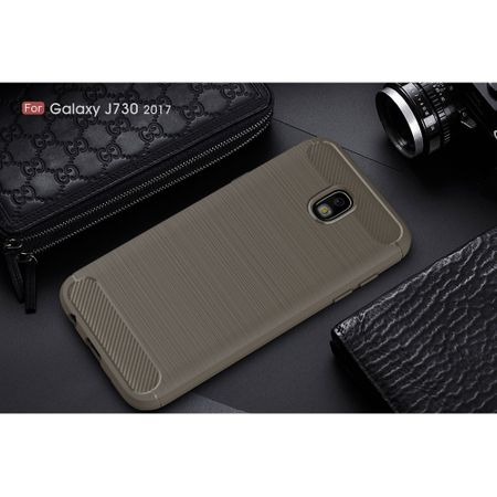 Samsung Galaxy J7 2017 TPU Case Carbon Fiber Optik Brushed Schutz Hülle Grau – Bild 2