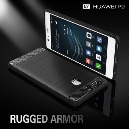 Huawei P9 TPU Case Carbon Fiber Optik Brushed Schutz Hülle Grau – Bild 2