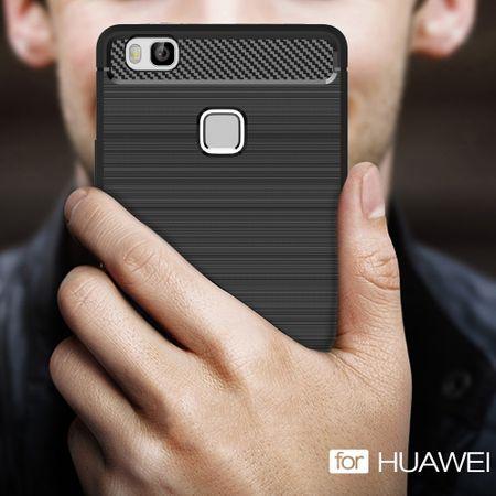 Huawei P9 Lite TPU Case Carbon Fiber Optik Brushed Schutz Hülle Schwarz – Bild 8