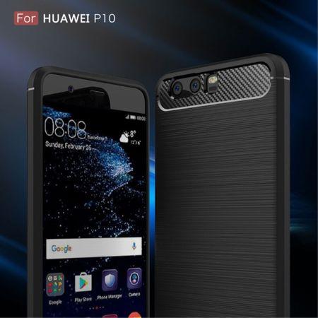 Huawei P10 TPU Case Carbon Fiber Optik Brushed Schutz Hülle Grau – Bild 3