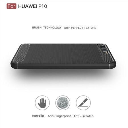 Huawei P10 TPU Case Carbon Fiber Optik Brushed Schutz Hülle Grau – Bild 4