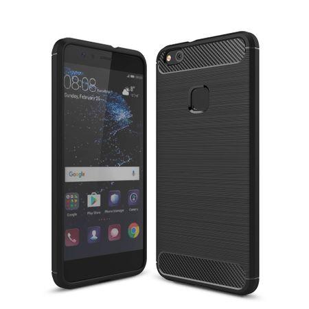 Huawei P10 Lite TPU Case Carbon Fiber Optik Brushed Schutz Hülle Schwarz