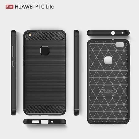 Huawei P10 Lite TPU Case Carbon Fiber Optik Brushed Schutz Hülle Schwarz – Bild 8