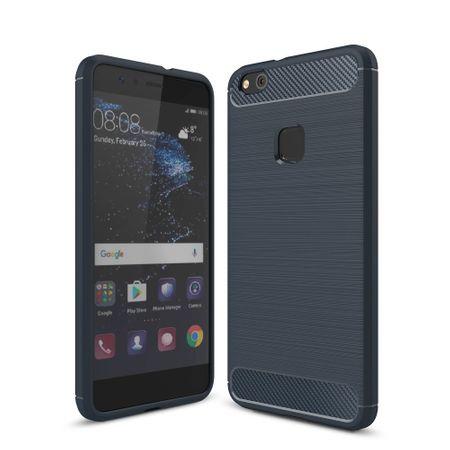 Huawei P10 Lite TPU Case Carbon Fiber Optik Brushed Schutz Hülle Blau