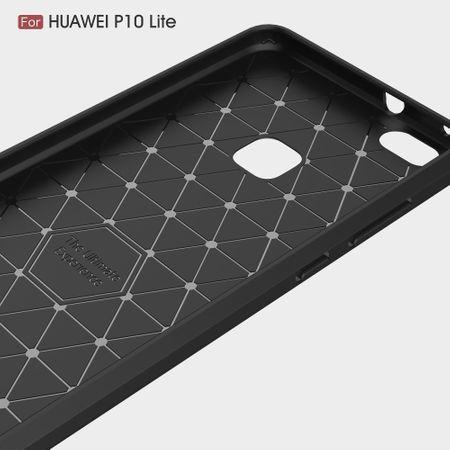 Huawei P10 Lite TPU Case Carbon Fiber Optik Brushed Schutz Hülle Grau – Bild 5