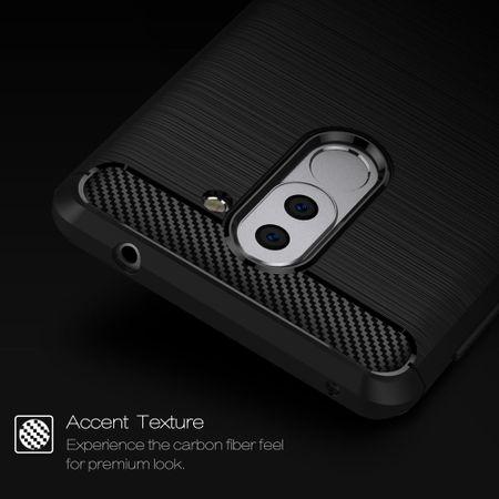 Huawei Honor 6X TPU Case Carbon Fiber Optik Brushed Schutz Hülle Blau – Bild 6