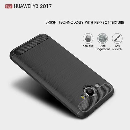 Huawei Y3 2017 TPU Case Carbon Fiber Optik Brushed Schutz Hülle Schwarz – Bild 3