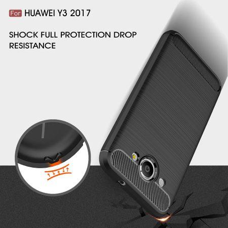 Huawei Y3 2017 TPU Case Carbon Fiber Optik Brushed Schutz Hülle Schwarz – Bild 6