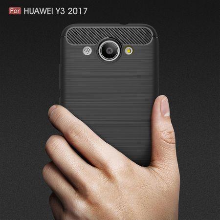 Huawei Y3 2017 TPU Case Carbon Fiber Optik Brushed Schutz Hülle Schwarz – Bild 8