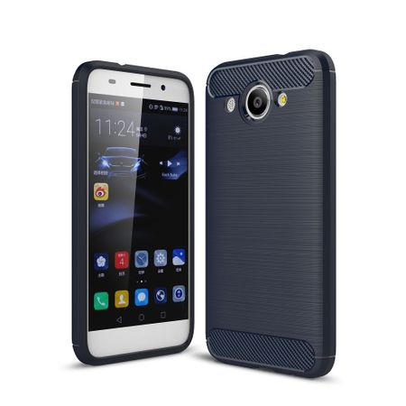Huawei Y3 2017 TPU Case Carbon Fiber Optik Brushed Schutz Hülle Blau