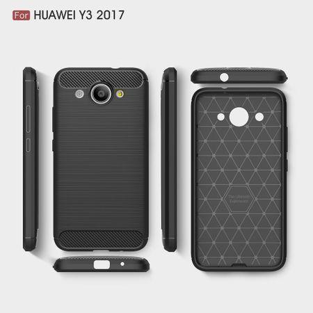 Huawei Y3 2017 TPU Case Carbon Fiber Optik Brushed Schutz Hülle Grau – Bild 10