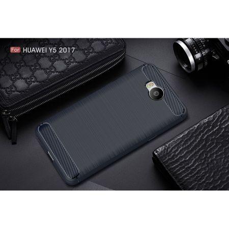 Huawei Y5 2017 TPU Case Carbon Fiber Optik Brushed Schutz Hülle Blau – Bild 2