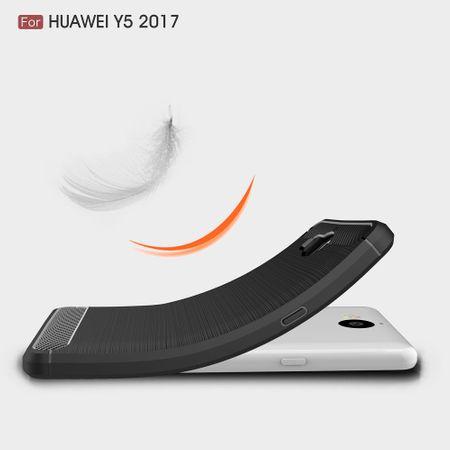 Huawei Y5 2017 TPU Case Carbon Fiber Optik Brushed Schutz Hülle Blau – Bild 8