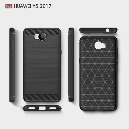 Huawei Y5 2017 TPU Case Carbon Fiber Optik Brushed Schutz Hülle Blau – Bild 10