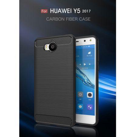 Huawei Y5 2017 TPU Case Carbon Fiber Optik Brushed Schutz Hülle Grau – Bild 3