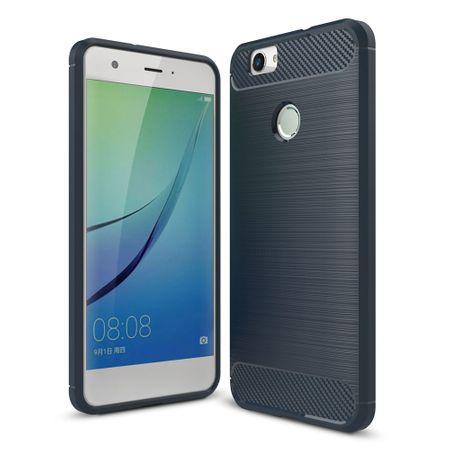 Huawei Nova TPU Case Carbon Fiber Optik Brushed Schutz Hülle Blau