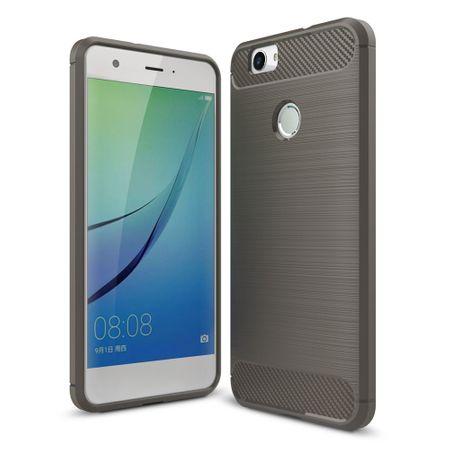 Huawei Nova TPU Case Carbon Fiber Optik Brushed Schutz Hülle Grau