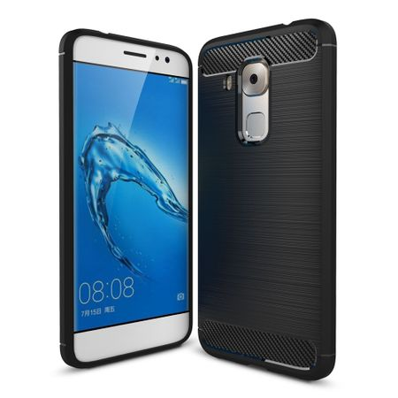 Huawei Nova Plus TPU Case Carbon Fiber Optik Brushed Schutz Hülle Schwarz