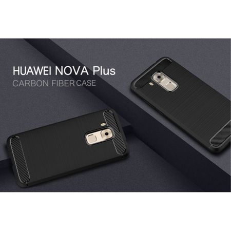 Huawei Nova Plus TPU Case Carbon Fiber Optik Brushed Schutz Hülle Grau – Bild 2