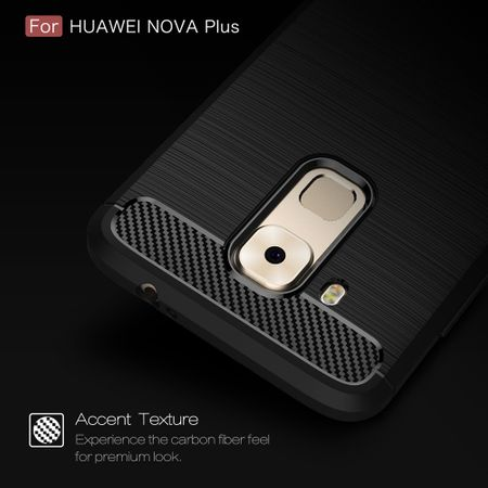 Huawei Nova Plus TPU Case Carbon Fiber Optik Brushed Schutz Hülle Grau – Bild 5