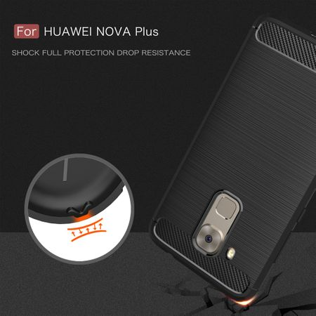Huawei Nova Plus TPU Case Carbon Fiber Optik Brushed Schutz Hülle Grau – Bild 7