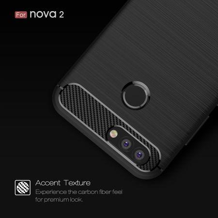 Huawei Nova 2 TPU Case Carbon Fiber Optik Brushed Schutz Hülle Blau – Bild 5