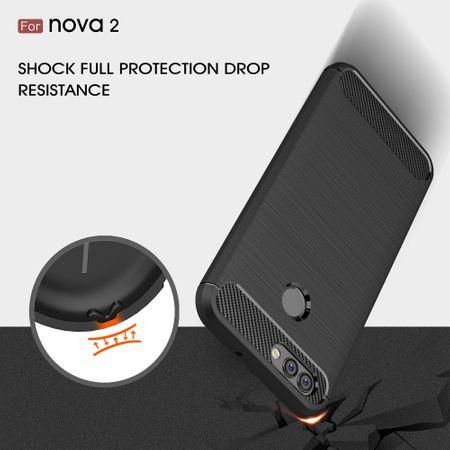 Huawei Nova 2 TPU Case Carbon Fiber Optik Brushed Schutz Hülle Blau – Bild 7