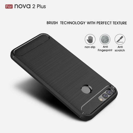 Huawei Nova 2 Plus TPU Case Carbon Fiber Optik Brushed Schutz Hülle Schwarz – Bild 3